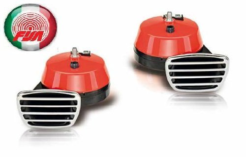 Preisvergleich Produktbild Fanfare Zweiklang Elektro rot 112 dB Markenware FISA Italien
