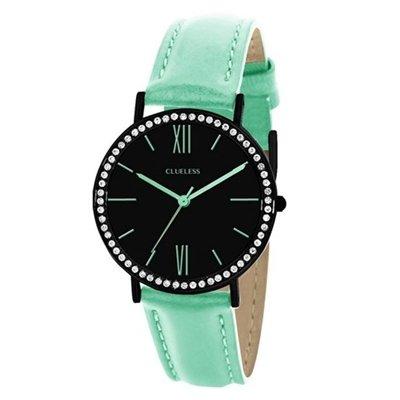 lucardi-clueless-clue-less-horloge-met-turquoise-leren-bande-pour-femme-acier-inoxydable