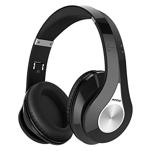 Bluetooth Kopfhörer Mpow Over Ear Headset, Over Ear Headset mit 20 Stunden Spielzeit, CVC 6.0 Noise Canceling, Stereo Wireless Headset & Integriertem Mikrofon Freisprechen, Schwarz
