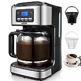 Aicok Programmierbarer Kaffeemaschine mit Timerfunktion, Filterkaffeemaschine mit Glaskann, Automatische Warmhaltefunktion, Anti-Drip-Funktion, 12 tassen, LED-Anzeige, Dauerfilter, Schwarz.