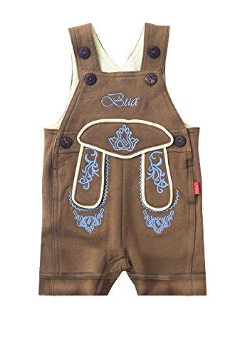Mogo.cc, BLH Babylederhose Bua, PIZ KURZ, 50/56, 0-3 Mon. XS, Stick - Blaue Lederhosen Kostüm