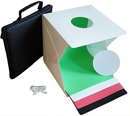 Mini Fotostudio Lichtzelt / Lightbox 30cm mit LED Beleuchtung & 4 Hintergründen für Produktfotografie