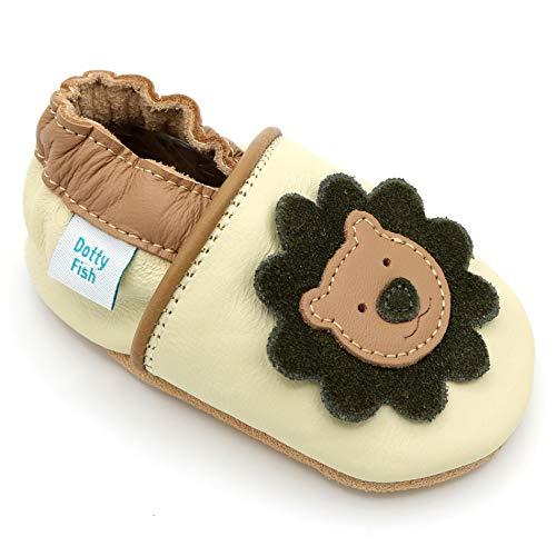 Dotty Fish weiche Leder Babyschuhe mit rutschfesten Wildledersohlen. 2-3 Jahre (25 EU). Creme und brauner Schuh mit Löwen Design. Jungen und Mädchen. Kleinkind Schuhe.