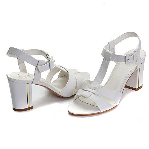 Alexis Leroy Talon Bloc Sandales Bride Cheville Femme Blanc