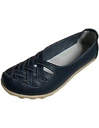 Heheja Mujer Mocasines de Cuero Hueco Loafers Casual Zapatos de Conducción