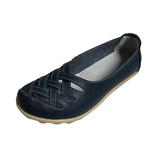 Heheja Mocassins pour Femme Loafers Casual Bateau Chaussures de Ville Bleu Foncé
