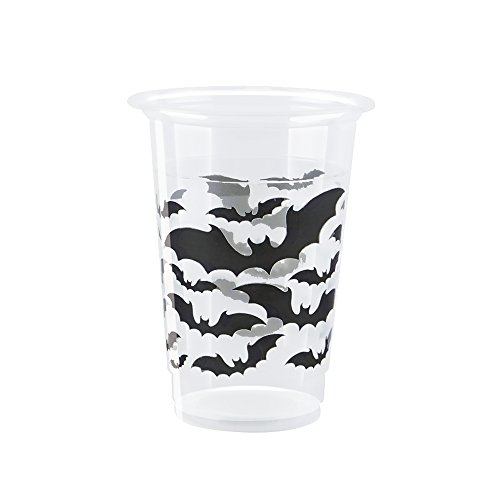 Black Bats Halloween 16oz Plastic Cups, 8ct