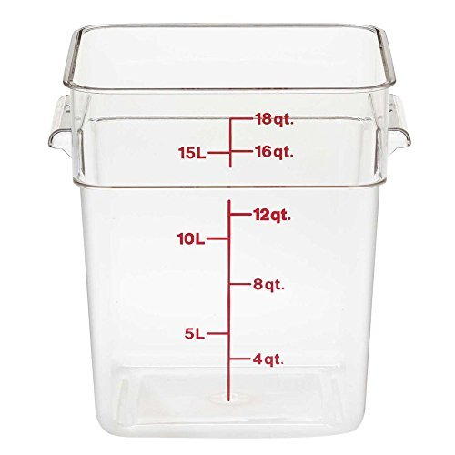 Camsquare Food Container, W/Handles, 18 Qt, 11-1/4 X 12-1/4 X 12-5/8, Clear, Blue Graduation, (6 Pieces/Unit) by Cambro Camsquare Container