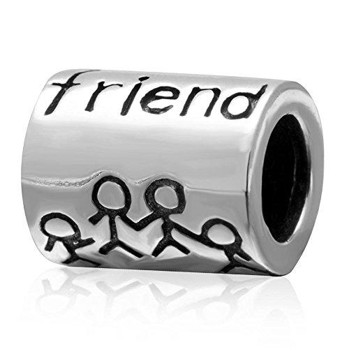 Charm dell'amicizia a forma di cuore in argento sterling 925, con la scritta in lingua inglese