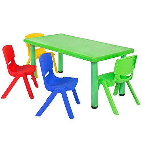 Best-Choice-Products-Multicolored-Kids-Plastic-Table-And-4-Chairs-Set-Colorful-Furniture-Play-Fun-School-Home-by-Best-Choice-Products