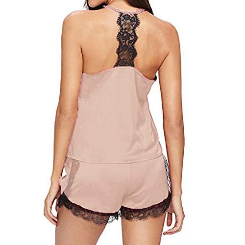 Neue Damen Nachtwäsche FGHYH Damen Nachtwäsche Ärmellose Träger Nachtwäsche Spitzenbesatz Satin Cami Top Pyjama Sets(XL, Beige) -
