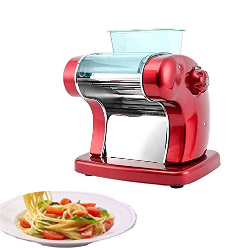 Multifunction Electric Pasta Maker in one 6 Thickness Settings for Fresh Homemade Fettuccine Spaghetti Lasagne Dough Roller Press Cutter Noodle Making Machine,Red