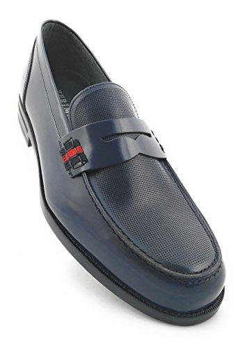 Zerimar Scarpe uomo eleganti in pelle nautico con suola in gomma flessibile SALDI- ORA O MAI 100% pelle di alta qualità La marcatura di fashion design Rivestimento interno Blu scuro