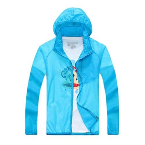 Yuanu Unisex Sommer Leichtgewicht Atmungsaktiv Reine Farbe Sonnenschutz Jacke Outdoor Sport UV-Schutz Lange Ärmel Haut Windjacke Mit Kapuze Himmelblau M