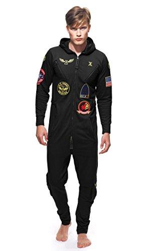 Onepiece Unisex Jumpsuit Aviator, Schwarz (Black)