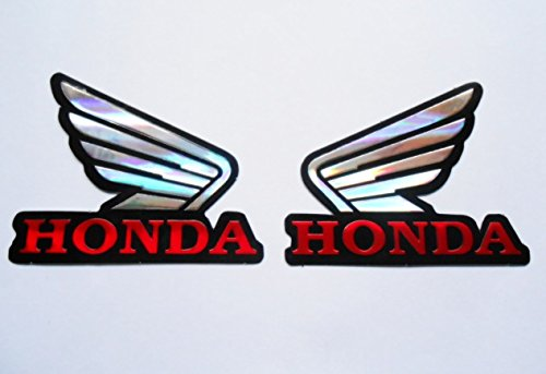 3D red / chrome HONDA wings stickers decals Adhesivo
