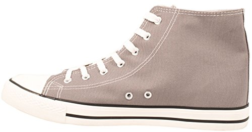 Elara Unisex Sneaker | Sportschuhe für Herren Damen | High Top Turnschuh Textil Schuhe 36-47 Grey Standard