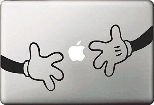 Vati Blätter Removable Mickey und Minnie Hand Aufkleber Aufkleber Skin Art Schwarz für Apple Macbook Pro Air Mac 13
