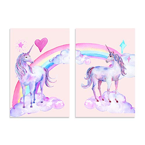 Violett Eisenkraut Art 40,6x 61cm Cartoon Rainbow mit Einhorn Bild Prints auf Leinwand Wände Artwork, 2moderne Giclée-Wände Malen für Kid 's Room Dekoration, Gestreckt und gerahmt