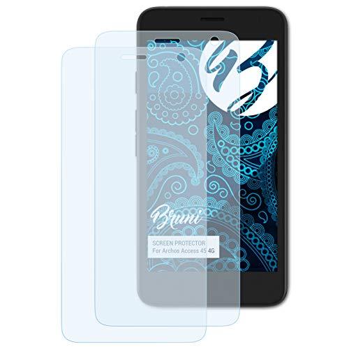 Bruni Schutzfolie kompatibel mit Archos Access 45 4G Folie, glasklare Bildschirmschutzfolie (2X)