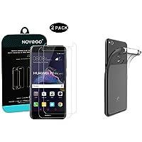 NOVAGO Pack Huawei P8 Lite 2017, P9 Lite 2017 - Lot de 2 verres trempé écran + 1 Coque Gel TPU souple Transparente résistante anti choc