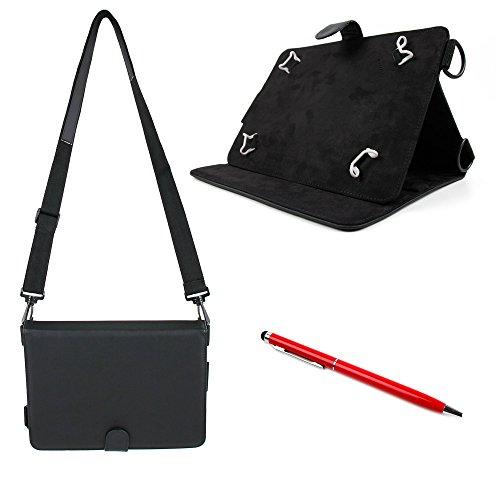 Elegante Tasche mit Gummis und Schultergurt und roter Stylus für SAMSUNG Tablet-PCs. Kompatibel mit: Galaxy Tab A (SM-T580 | SM-T585) (Deal Cyber Monday 180)