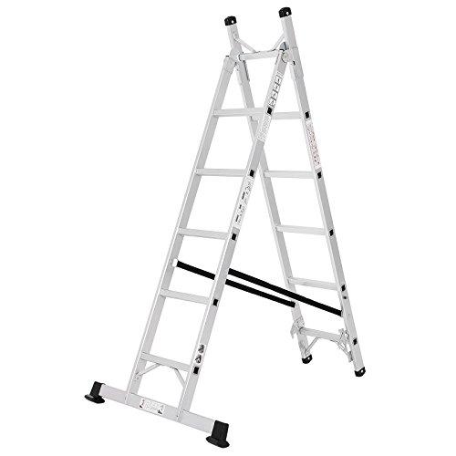 SONGMICS Alu Leiter Treppenleiter Universalleiter 3-Wege-Haushaltsleiter Reichhöhe inkl. Armlänge 3.5 m bis 150 kg belastbar entspricht EN 131 GLT260
