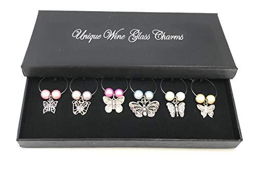 Set von 6Kollektion von Schmetterling Wein Glas Charms mit Geschenkbox handgefertigt von Libby 's Market Place ~ von UK