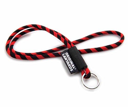 Original Lanyards® LEIS LABEL Schlüsselband, Schlüsselanhänger – rot/ schwarz