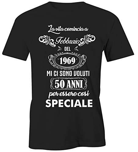 67a3ca90228a3 Puzzletee T-Shirt Compleanno Febbraio - la Vita Comincia a Febbraio del 1969  Mi Ci