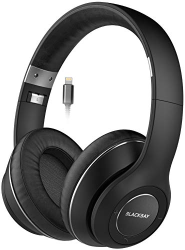 Thore Studio iPhone Headphones with Wired Lightning Connector (Apple MFi Certified) Ultra Comfortable Over-Ear Earphones w/Inline Remote Volume/Microphone (2018 Updated V500 Blackbay Series) Black