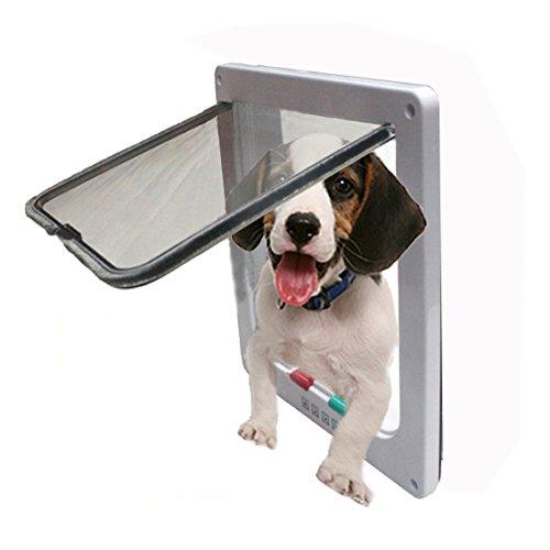 """Namsan 4 Way Cat Puppy Doggie Lockable Door For Window/Door --White Medium (7.5"""" X 7.1"""" Opening)"""