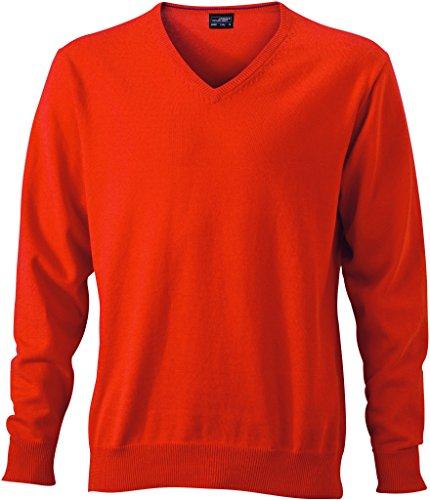 James & Nicholson Herren V-Neck Pullover Orange (Dark-Orange)