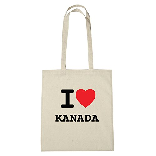 JOllify Canada borsa di cotone b4729 schwarz: New York, London, Paris, Tokyo natur: I love - Ich liebe