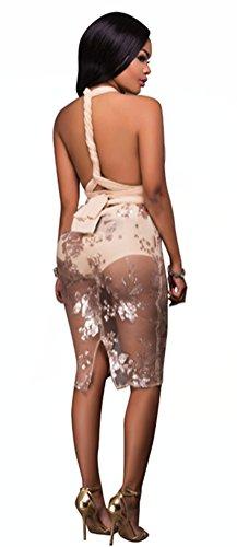 Blansdi Damen Frauen Elegant Paillettenkleid Stickerei Rückenfrei Perspektive Bodycon Sequin Abendkleid Cocktailkleid Partykleid Festlich Clubwear Ballkleid Schwarz Aprikose