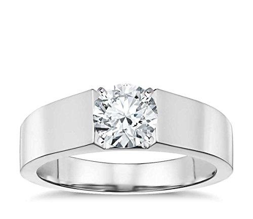 Lilu Jewels 1/2taglio rotondo Moissanite anello di fidanzamento solitario in argento Sterling 925, Argento, 12,5, (Taglio Rotondo Moissanite Solitaire)
