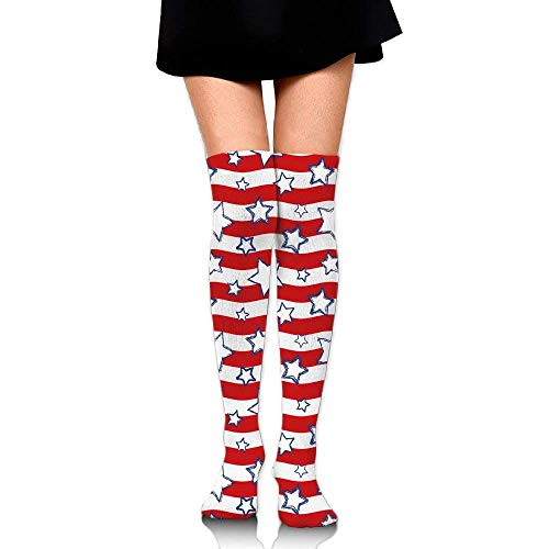 OQUYCZ Womens Horizontal Wavy Bands Background with Stars Homeland The Old Country Image Fashion Knee High Socks