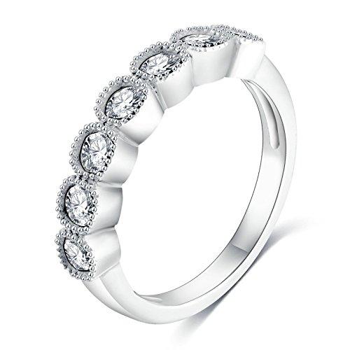 Die Kostüm Echte Cleopatra (Adisaer Ring Damen Versilbert Verlobungsring Silber Cluster CZ Runde Kristall Ringe Größe 57 (18.1) Bandring Für Frauen)