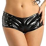 Agoky Damen Wetlook Panties Hipster Mini Booty Short Lack Lederoptik Slips Unterwäsche Hot Pants Gogo Tanz kurz Hose in Schwarz Schwarz M(Taille 80cm)