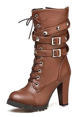 SHOWHOW Damen Modern Nieten Biker Boots Stiefel mit Absatz Stiefelette Braun 44 EU SeIzDumw6j