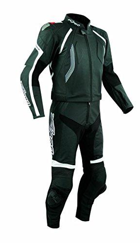 Anzug 2 Stück Leder Rennen Motorradsport CE Protektoren Lederkombi Schwarz 52 - Leder Zwei Stück Anzug