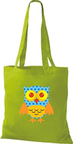 ShirtInStyle Jute Stoffbeutel Bunte Eule niedliche Tragetasche mit Punkte Karos streifen Owl Retro diverse Farbe, weiss lime