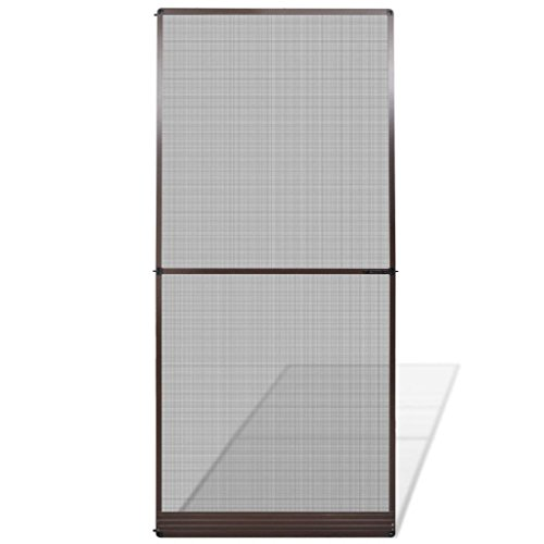 Mosquitera Puerta Fija Abatibles, Malla Anti Mosquitos, para Puertas de Sala de Estar la Puerta del Balcón Puerta de Patio, marrón 100x215 cm