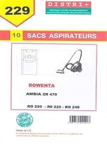 Sac aspirateur Rowenta AMBIA>2001 / RO220 / RO225 / RO230 / RO240 / ZR470 paquet de 10 sac