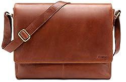 LEABAGS Oxford Umhängetasche Leder Laptoptasche 15 Zoll aus echtem Büffel-Leder im Vintage Look, (LxBxH): ca. 38x10x31 cm - Caramel