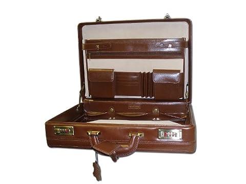 Real Cowhide Leather R64 grained expanding Attache case 5261 Cognac colour