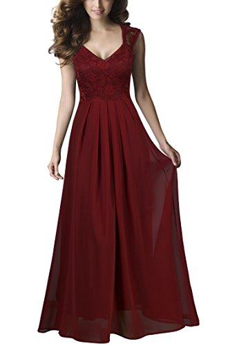 Abendkleider Damen Lange (REPHYLLIS Damen Vintage Chiffon Hochzeit Brautjungfer Lang Spitzenkleider Abendkleider(XL,Darkred))