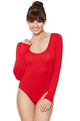 Friendz Trendz -Womens Body pianura a manica lunga con scollo rotondo in jersey Red