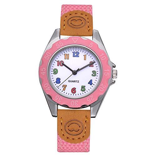 Armbanduhr Damen Ronamick Kinder Mädchen Mode bunte Strap arabische Zahl Sport Quarz Armbanduhr Armband Uhr Uhren (Rosa)
