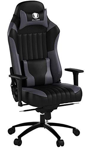 KILLABEE großer Memory Foam Gaming Stuhl Verstellbarer Neigungswinkel Rückenwinkel und 3D-Arme Ergonomische hohe Rückenlehne aus Leder Exklusiver Computer-Schreibtisch Bürostuhl mit Metallsockel
